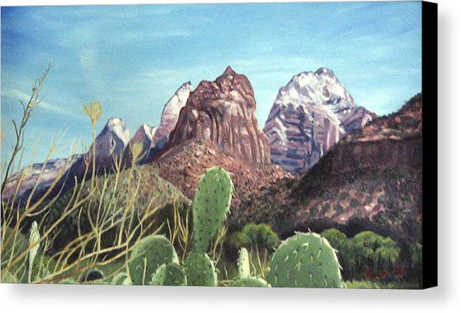 Zion Canvas Print featuring the painting Zion National Park by Sharon Casavant