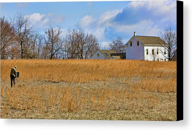 Bucks County Canvas Print featuring the photograph Artist In Field by William Jobes