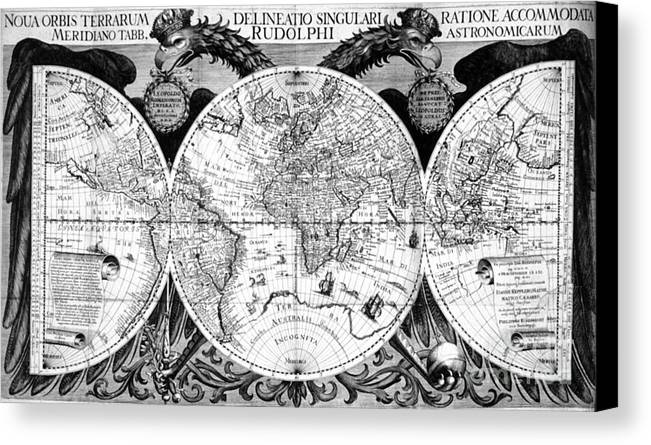 Science Canvas Print featuring the photograph Keplers World Map, Tabulae by Science Source