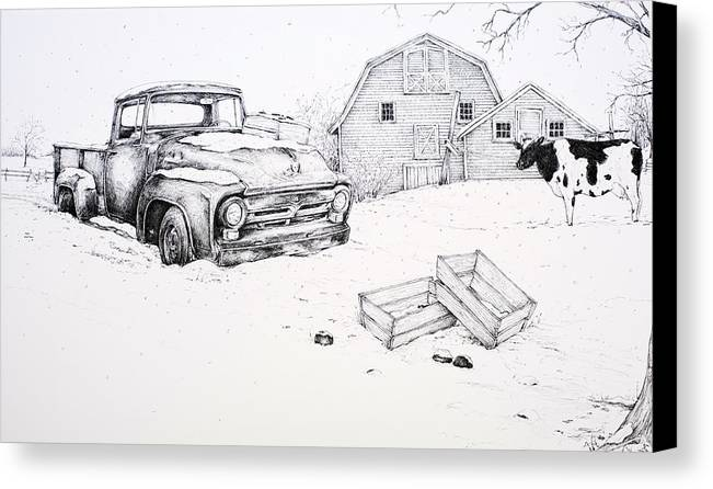 Pen And Ink Canvas Print featuring the drawing Late Season Apples by Scott Nelson