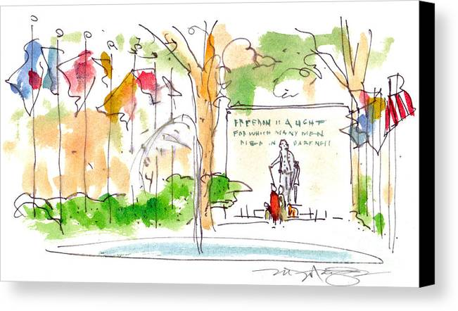 Landscape Canvas Print featuring the painting Philadelphia Park by Marilyn MacGregor