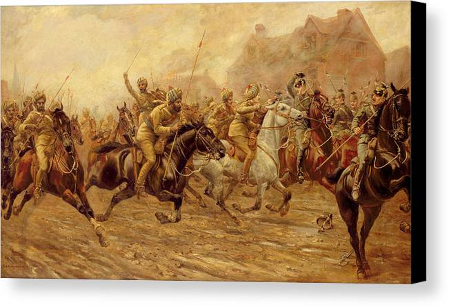 The Charge Of The Bengal Lancers At Neuve Chapelle Canvas Print featuring the painting The Charge Of The Bengal Lancers At Neuve Chapelle by Derville Rowlandson