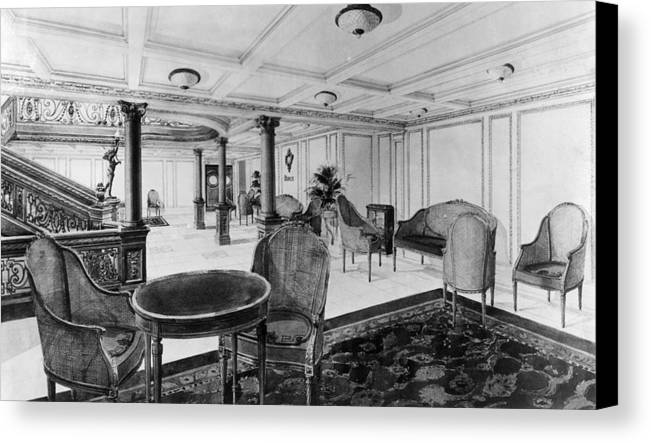 1910s Canvas Print featuring the photograph The Restaurant Reception Room by Everett