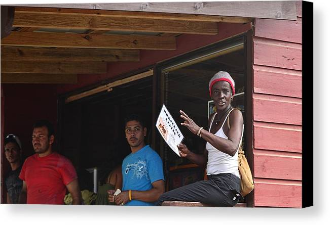 Canvas Print featuring the photograph Roatan People by Gianni Bussu