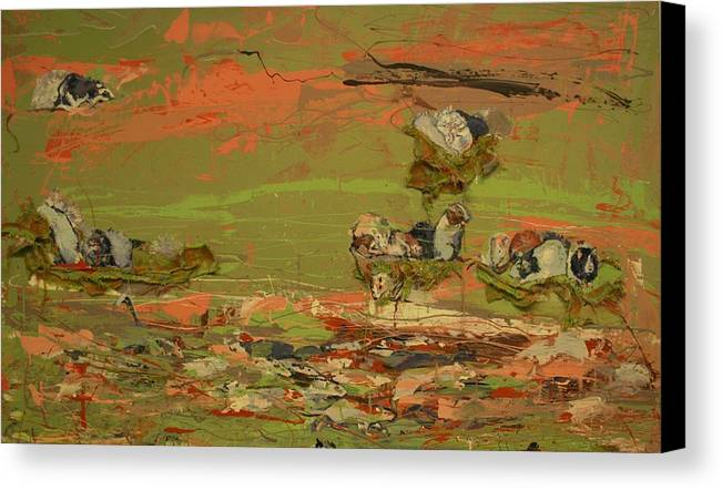 Wood Canvas Print featuring the painting A Thousand Rats by Danielle Wilbert