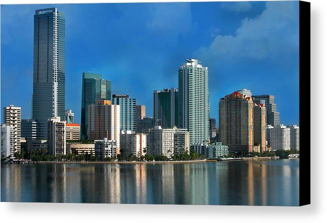 Brickell Canvas Print featuring the photograph Brickell Skyline 2 by Bibi Rojas