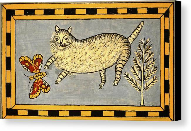 Cat Canvas Print featuring the painting Cat And Butterfly by Unknown