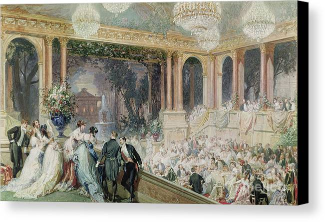 Dinner Canvas Print featuring the painting Dinner At The Tuileries by Henri Baron