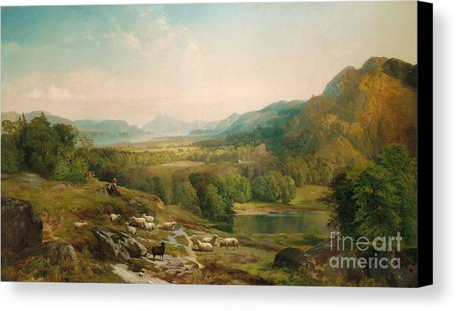 Thomas Moran Canvas Print featuring the painting Minding The Flock by Thomas Moran