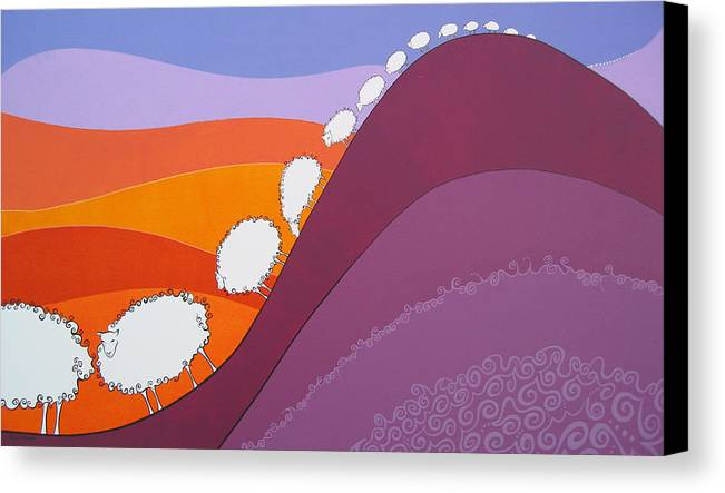 Mountains Canvas Print featuring the painting Sheep by Patricia Van Lubeck