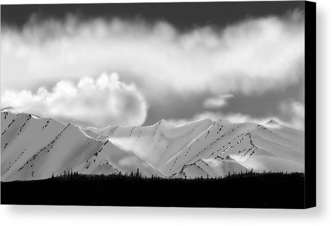 Landscape Mountains Clouds Snow Canvas Print featuring the painting Snow In The Mountains by John Shioli