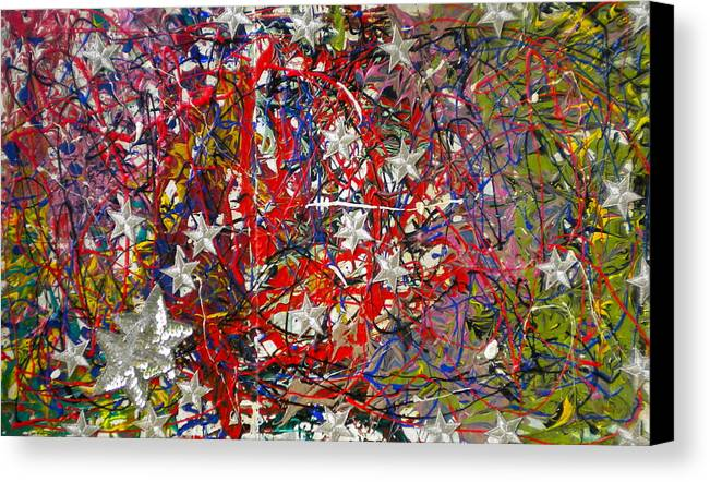 Red White And Blue Canvas Print featuring the painting True American Colors by Dylan Chambers
