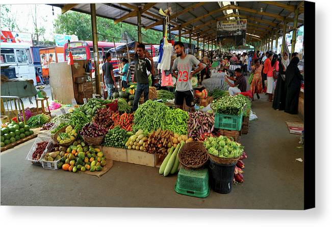 Landscape Canvas Print featuring the photograph Vegetable Market Sri Lanka by Mark Victors