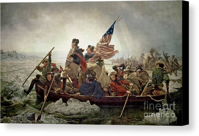 Washington Canvas Print featuring the painting Washington Crossing The Delaware River by Emanuel Gottlieb Leutze