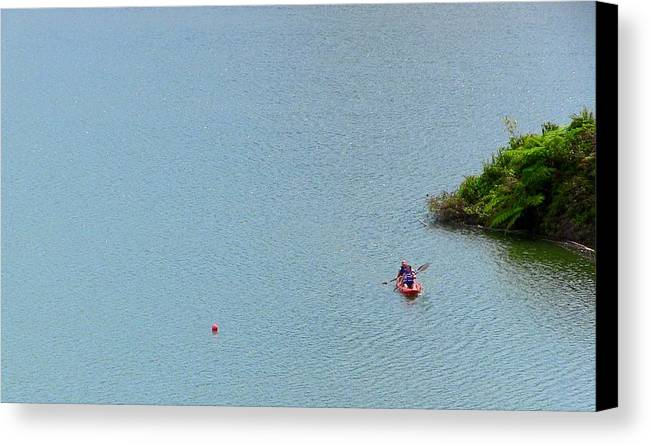 Couple Kayaking At Lake Garzas Canvas Print featuring the photograph We Are One by Walter Rivera Santos