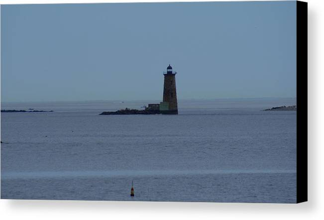 Lighthouse Canvas Print featuring the photograph Whaleback - Off Odiorne Point Nh by Lois Lepisto