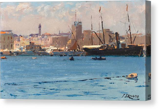 Fausto Zonaro Canvas Print featuring the painting Boats In A Port by Fausto Zonaro