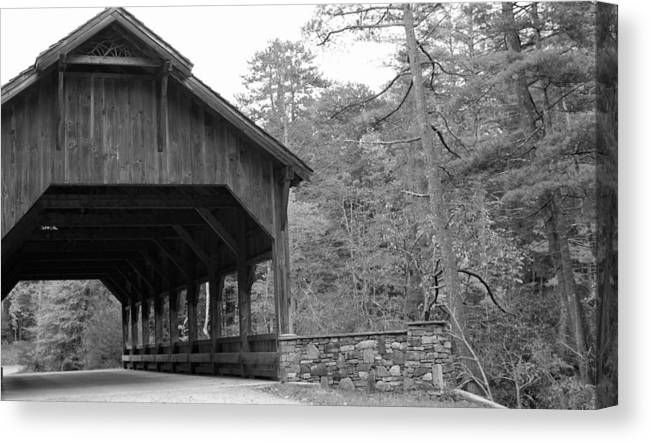 Black And White Photographs Canvas Print featuring the photograph Covered Bridge Black And White by Kristen Mohr