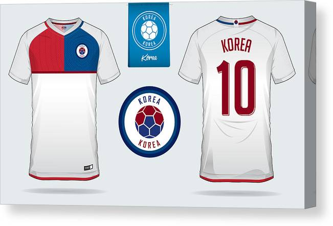 5dc32d0b00f Soccer Uniform Canvas Print featuring the drawing Soccer Jersey Or Football  Kit Template Design For South