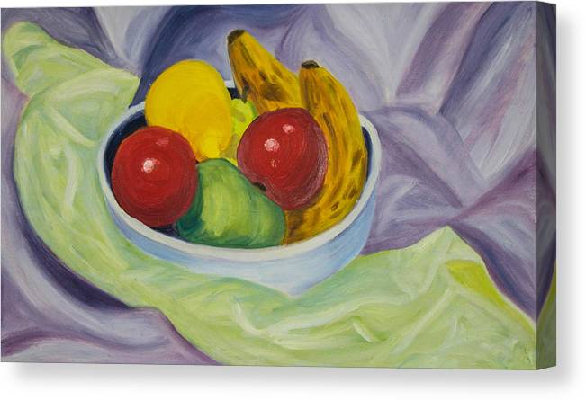 Banana Canvas Print featuring the painting Fruit Bowl by Claire Wentzel