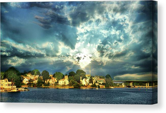 New England Canvas Print featuring the digital art Along The North Shore - Ma by Lilia D
