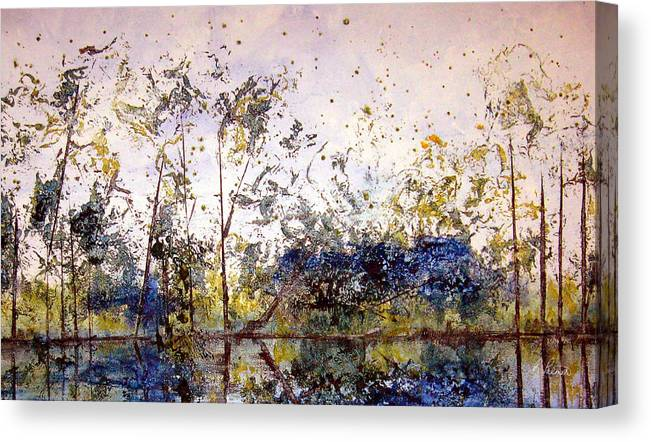 Abstract Canvas Print featuring the painting Along The River Bank by Ruth Palmer