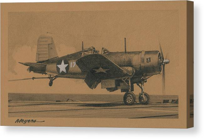 F4u Canvas Print featuring the drawing Bounce Drill by Wade Meyers