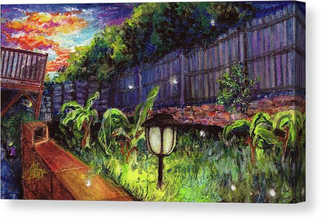 Fireflies Canvas Print featuring the pastel Fireflies In Woodfin by April Zaidi