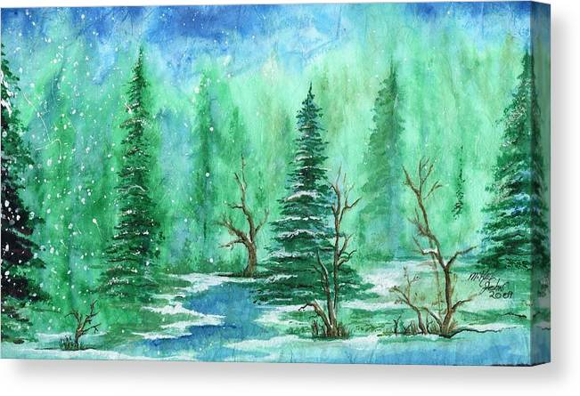 Nature Canvas Print featuring the painting Winter Walk A by Mikel Zuiderveen