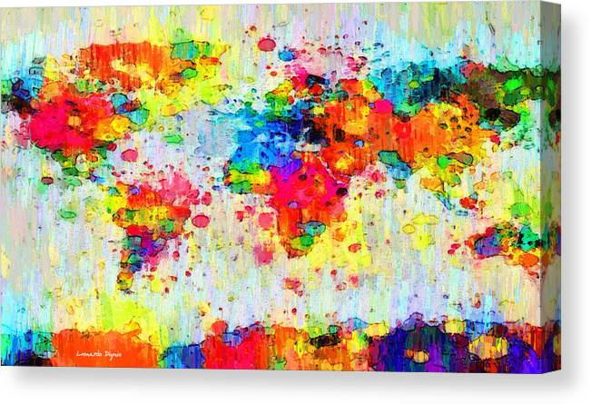 World Map Abstract 3 Pa Canvas Print