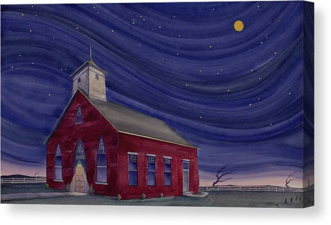 Church Canvas Print featuring the painting Impressions Of North Lewisburg by Scott Kirby