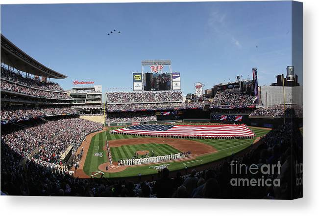 American League Baseball Canvas Print featuring the photograph Oakland Athletics V Minnesota Twins by Elsa