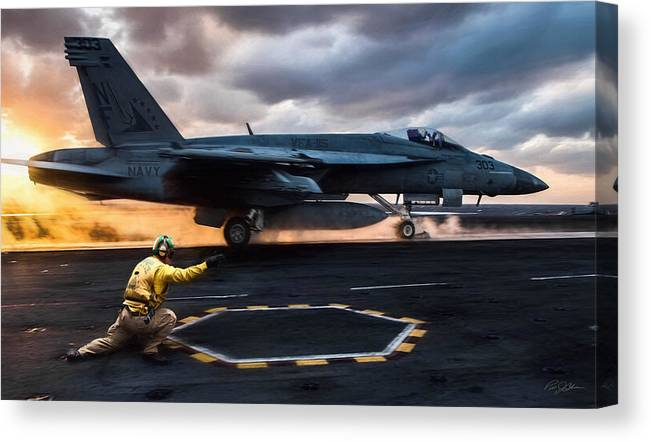 Catapult Officer Canvas Print featuring the digital art Sunset Shooter by Peter Chilelli