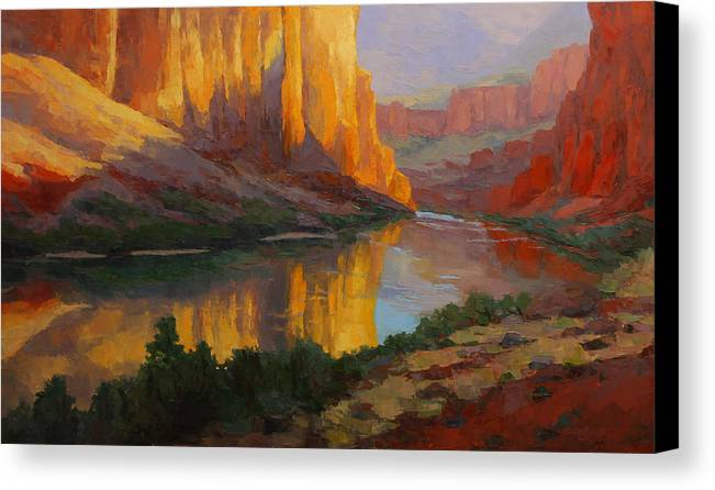 Landscape Canvas Print featuring the painting Morning Majesty by Russell Johnson