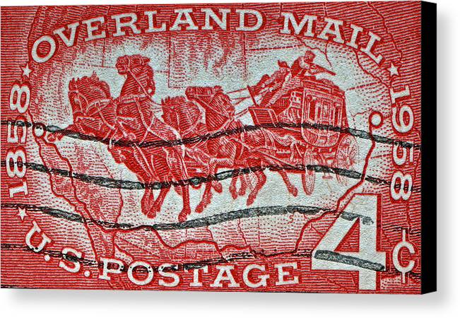 1958 Canvas Print featuring the photograph 1958 Overland Mail Stamp by Bill Owen
