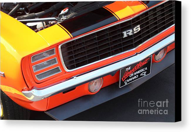 1969 Chevrolet Camaro Rs Canvas Print featuring the photograph 1969 Chevrolet Camaro Rs - Orange - Front End 7550 by Gary Gingrich Galleries