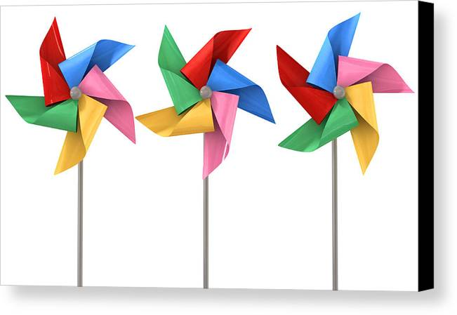 Windmill Canvas Print featuring the digital art Colorful Pinwheels Isolated by Allan Swart