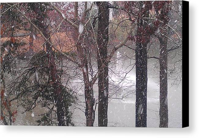 Winter Canvas Print featuring the photograph Fountain During Snowfall by Kenny Glover