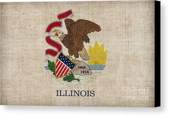 Illinois Canvas Print featuring the painting Illinois State Flag by Pixel Chimp