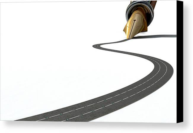 Pen Canvas Print featuring the digital art Infrastructure Pen And Road by Allan Swart