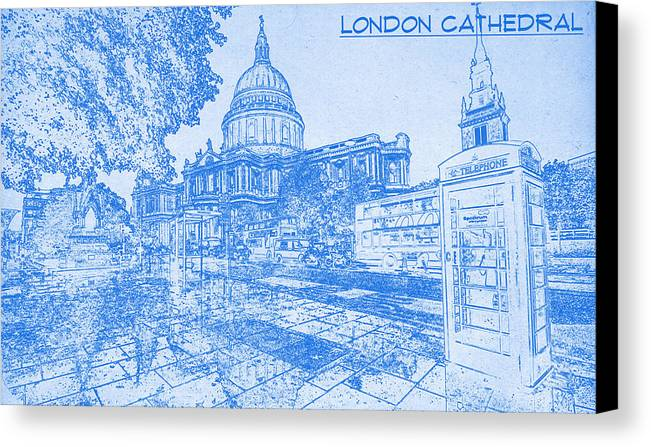 London cathedral blueprint drawing canvas print canvas art by london cathedral blueprint drawing canvas print featuring the digital art london cathedral blueprint drawing malvernweather Images