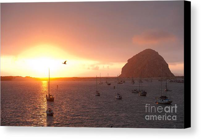 Morro Bay Ca Photographs Canvas Print featuring the photograph Morro Bay Rock At Sunset by Artist and Photographer Laura Wrede