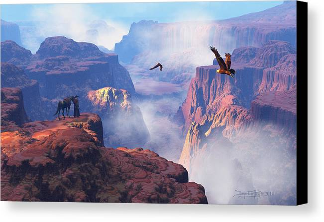 Eagle Canvas Print featuring the digital art Patterns Of Grandeur by Dieter Carlton