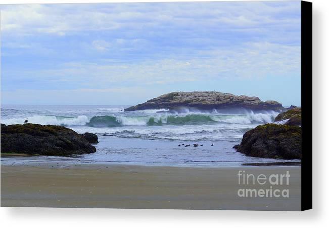 Maine Canvas Print featuring the photograph Popham Beach Surf by Kyle Neugebauer