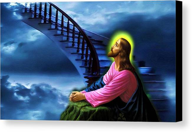 Heaven Art Prints Canvas Print featuring the digital art Stairway To Heaven by Karen Showell
