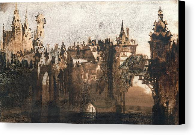Victor Hugo Canvas Print featuring the painting Town With A Broken Bridge by Victor Hugo