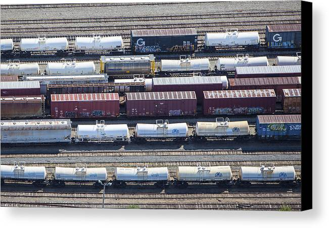 America Canvas Print featuring the photograph Train Wagons, South Portland by Dave Cleaveland