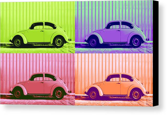 Classic Vw Beetle Car Pop Art Colors 4 Four Square Stripes Blue Purple Lime Green Orange Red Series Gallery Collage Fun Happy Bright Vibrant Pastels Color Colorful Colourful Uplifting Sunny Lively Metallic Sheet Metal Wall Lines Rivets Cobblestone Street Art Gift For Classic German Car Pop Art Lover Laura Fasulo Laurarama Samsung Galaxy Phone Case Iphone Cases Vw Pop Spring Canvas Print featuring the photograph Vw Pop Spring by Laura Fasulo