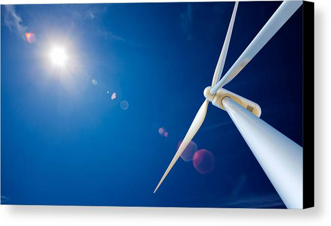 Wind Canvas Print featuring the photograph Wind Turbine And Sun by Johan Swanepoel