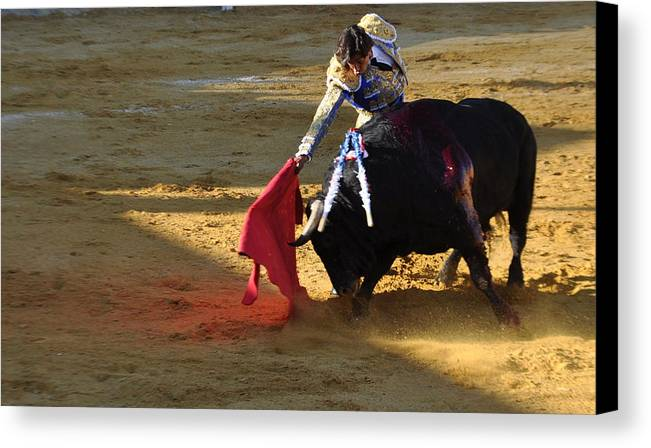 Bullfight - Villaluenga - A Trick Of The Light Canvas Print featuring the photograph 045 by Patrick King